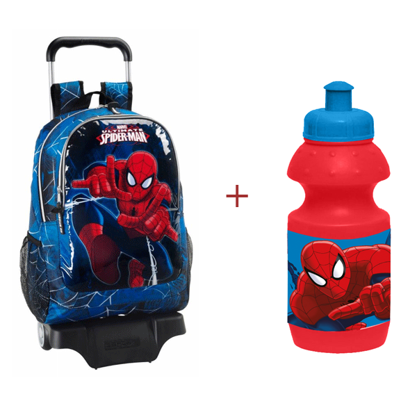 Ghiozdan scoala si troler Ultimate Spiderman + Recipient sport 350 ml