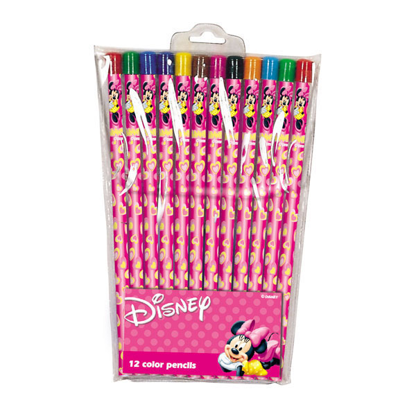 Set 12 creioane colorate Minnie Mouse Hearties