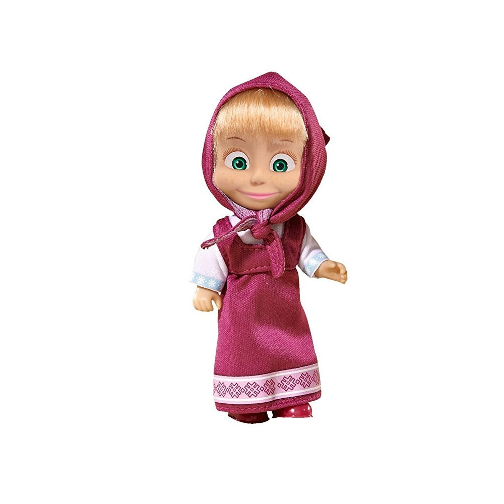 Papusa Simba Masha and the Bear 12 cm Masha in rochie mov