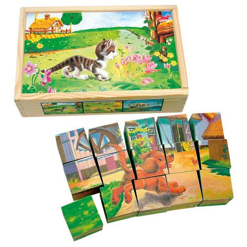 Set Cuburi de Lemn Animale Domestice