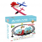 MAGPLAYER Joc de constructie magnetic - Train Magnetic Blocks 77 pcs + Cadou avion pasare